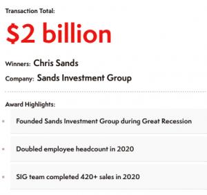 Chris Sands Top Broker Transaction Total